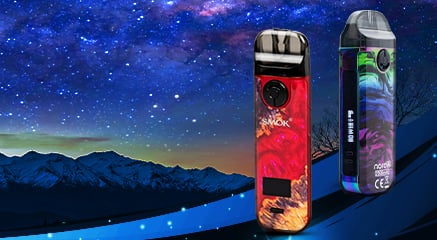 Two SMOK vape pods in June 2021 theme background