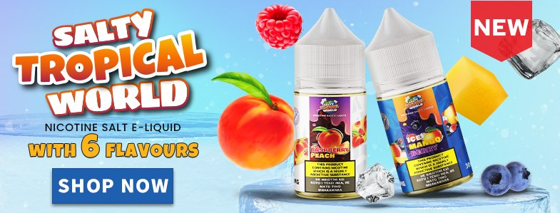 Two E-liquid bottles of the new Salty Tropical World Nicotine Salt E-liquid series in a white blue background