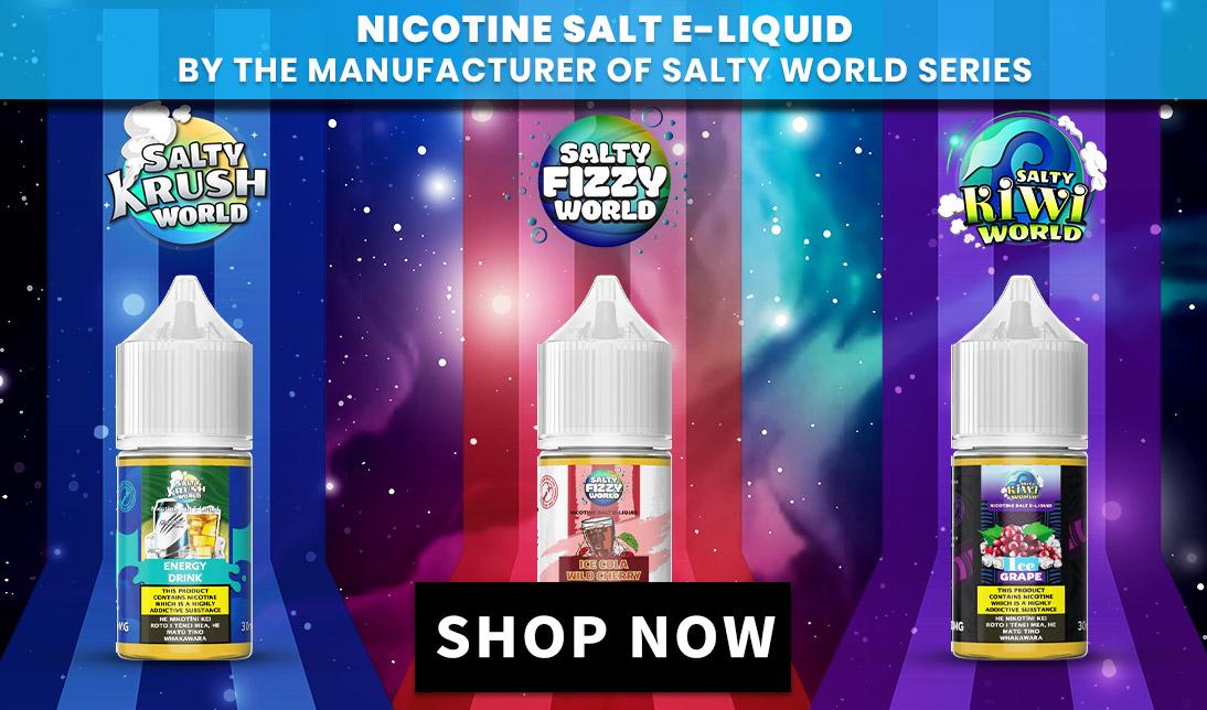 Three E-liquid bottles of the brand new Salty E-liquid series