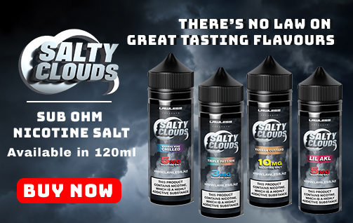 Salty Clouds Sub-Ohm Nicotine Salt E-Liquid Series Homepage Banner
